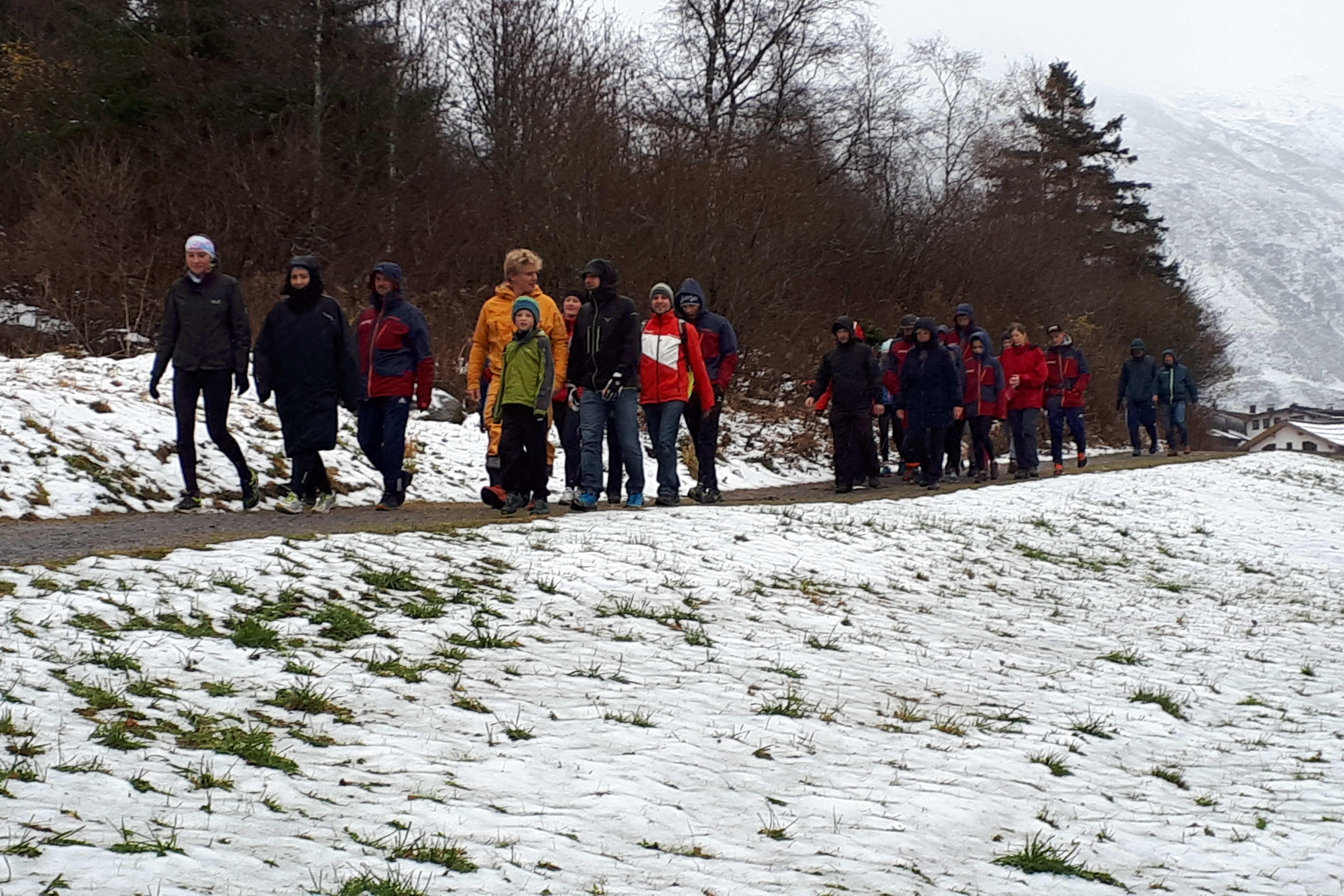Gruppe spaziert auf Feldweg